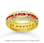 2 1/2 Carat Ruby and Diamond 18k Yellow Gold Eternity Band