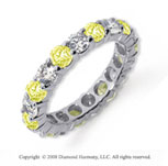 1/2 Carat Yellow Sapphire and Diamond Platinum Eternity Band