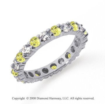 1 1/2 Carat Yellow Sapphire and Diamond Platinum Eternity Band