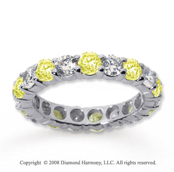 1/2 Carat Yellow Sapphire and Diamond 14k White Gold Eternity Band