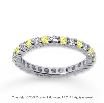 3/4 Carat Yellow Sapphire and Diamond 18k W Gold Eternity Band
