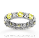 5 Carat Yellow Sapphire and Diamond 18k W Gold Eternity Band
