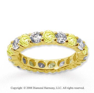 3/4 Carat Yellow Sapphire and Diamond 18k Y Gold Eternity Band
