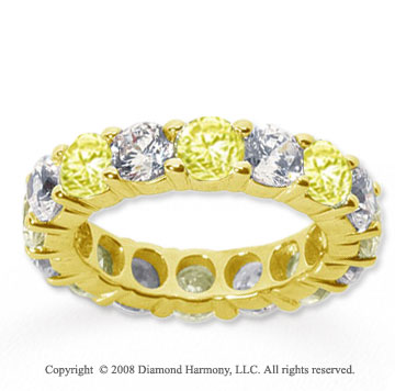 5 Carat Yellow Sapphire and Diamond 18k Y Gold Eternity Band
