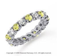 2 Carat Yellow Sapphire and Diamond Platinum Eternity Band