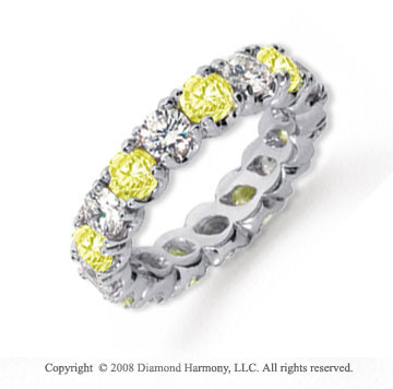 3 1/2 Carat Yellow Sapphire and Diamond Platinum Eternity Band