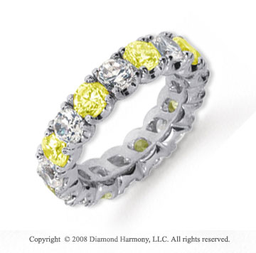 4 1/2 Carat Yellow Sapphire and Diamond Platinum Eternity Band