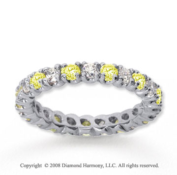 1 Carat Yellow Sapphire and Diamond 14k White Gold Eternity Band