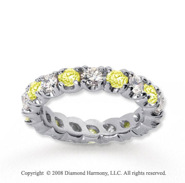3 Carat Yellow Sapphire and Diamond 14k White Gold Eternity Band