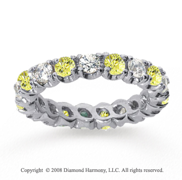 2 Carat Yellow Sapphire and Diamond 18k W Gold Eternity Band