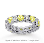 4 1/2 Carat Yellow Sapphire and Diamond 18k W Gold Eternity Band