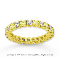 1 Carat Yellow Sapphire and Diamond 14k Yellow Gold Eternity Band