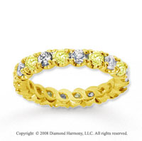 1 1/2 Carat Yellow Sapphire and Diamond 14k Yellow Gold Eternity Band