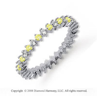 3/5 Carat Yellow Sapphire and Diamond Platinum Eternity Band
