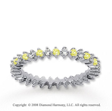 3/5 Carat Yellow Sapphire and Diamond 14k White Gold Eternity Band