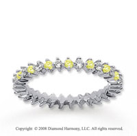 3/5 Carat Yellow Sapphire and Diamond 18k W Gold Eternity Band