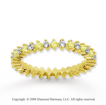 3/5 Carat Yellow Sapphire and Diamond 14k Yellow Gold Eternity Band
