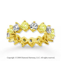 4 Carat Yellow Sapphire and Diamond 18k Y Gold Eternity Band