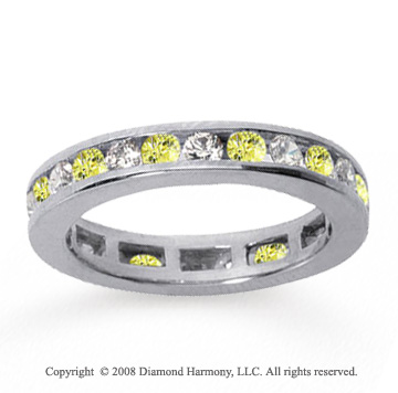 1/2 Carat Yellow Sapphire and Diamond 18k W Gold Eternity Band