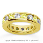 3 1/2 Carat Yellow Sapphire and Diamond 18k Y Gold Eternity Band
