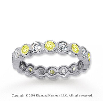 1 Carat Yellow Sapphire and Diamond 18k W Gold Eternity Band