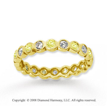 1/2 Carat Yellow Sapphire and Diamond 14k Yellow Gold Eternity Band