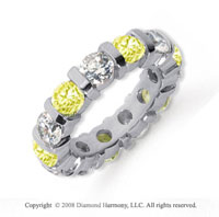 5 Carat Yellow Sapphire and Diamond Platinum Eternity Band