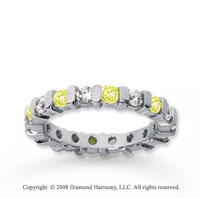 1 1/2 Carat Yellow Sapphire and Diamond 14k White Gold Eternity Band