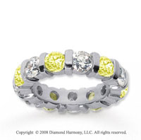 5 Carat Yellow Sapphire and Diamond 14k White Gold Eternity Band