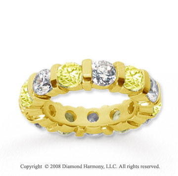 5 Carat Yellow Sapphire and Diamond 14k Yellow Gold Eternity Band