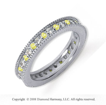 3/4 Carat Yellow Sapphire and Diamond Platinum Eternity Band