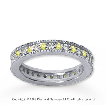 3/4 Carat Yellow Sapphire and Diamond 14k White Gold Eternity Band