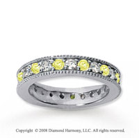 1 1/4 Carat Yellow Sapphire and Diamond 18k W Gold Eternity Band