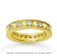 1 1/4 Carat Yellow Sapphire and Diamond 18k Y Gold Eternity Band