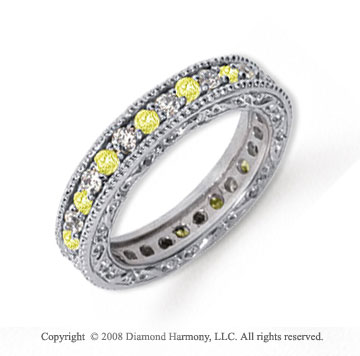 1 Carat Yellow Sapphire and Diamond Platinum Eternity Band
