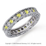 1 1/4 Carat Yellow Sapphire and Diamond Platinum Eternity Band