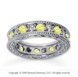 2 Carat Yellow Sapphire and Diamond 14k White Gold Eternity Band