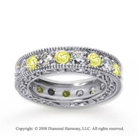 3 Carat Yellow Sapphire and Diamond 18k W Gold Eternity Band