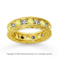 2 1/2 Carat Yellow Sapphire and Diamond 14k Yellow Gold Eternity Band