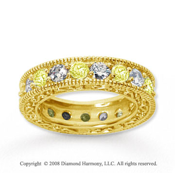 3 Carat Yellow Sapphire and Diamond 14k Yellow Gold Eternity Band
