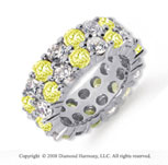 8 1/2 Carat Yellow Sapphire and Diamond Platinum Eternity Band