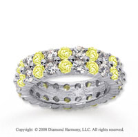4 1/2 Carat Yellow Sapphire and Diamond 14k White Gold Eternity Band