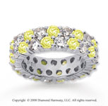 5 1/2 Carat Yellow Sapphire and Diamond 14k White Gold Eternity Band