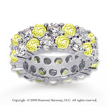 8 1/2 Carat Yellow Sapphire and Diamond 14k White Gold Eternity Band