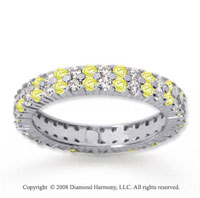 1 1/2 Carat Yellow Sapphire and Diamond 18k W Gold Eternity Band
