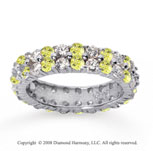 2 1/2 Carat Yellow Sapphire and Diamond 18k W Gold Eternity Band