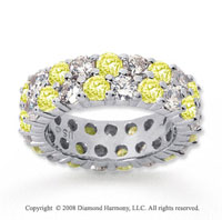 5 1/2 Carat Yellow Sapphire and Diamond 18k W Gold Eternity Band