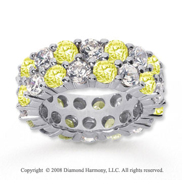 8 1/2 Carat Yellow Sapphire and Diamond 18k W Gold Eternity Band