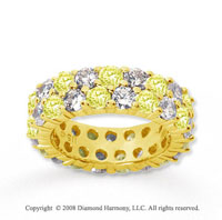 3 1/2 Carat Yellow Sapphire and Diamond 14k Yellow Gold Eternity Band