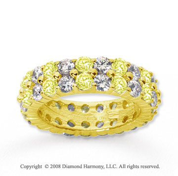 4 1/2 Carat Yellow Sapphire and Diamond 14k Yellow Gold Eternity Band